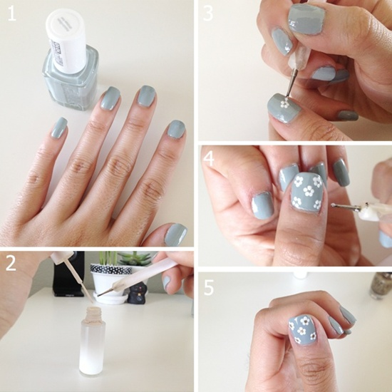30 flower nail art designs for inspiration with tutorial once you have done this you need to work when the orange nail paint is not yet dry you need to apply on some white nail polish on the nail prinsesfo Choice Image