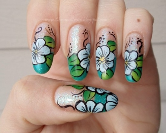 30 flower nail art designs for inspiration with tutorial here is a list of things that you will need to start off on your watercolor inspired nail art prinsesfo Gallery