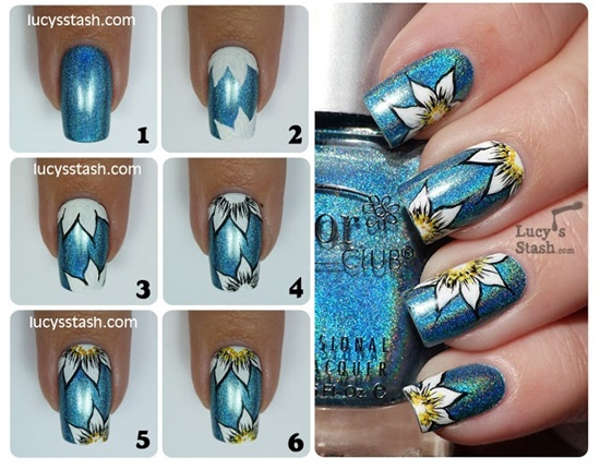 30 flower nail art designs for inspiration with tutorial 16 prinsesfo Choice Image