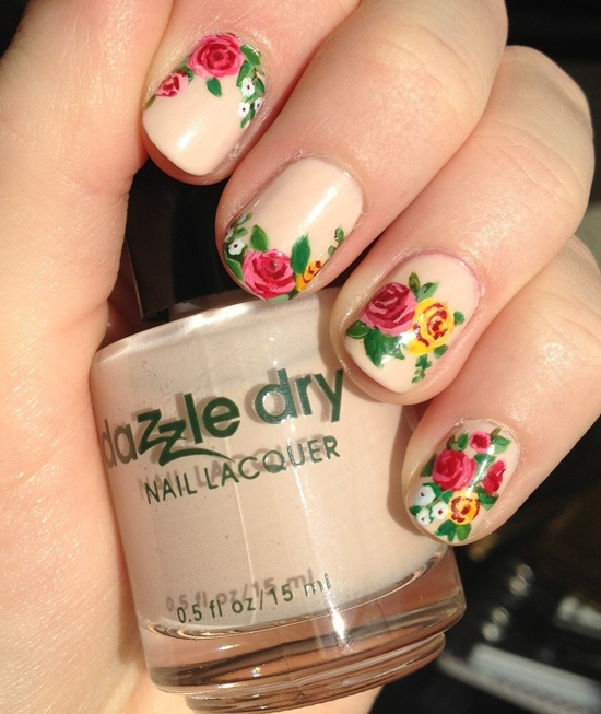 Dried Flowers Nail Art
