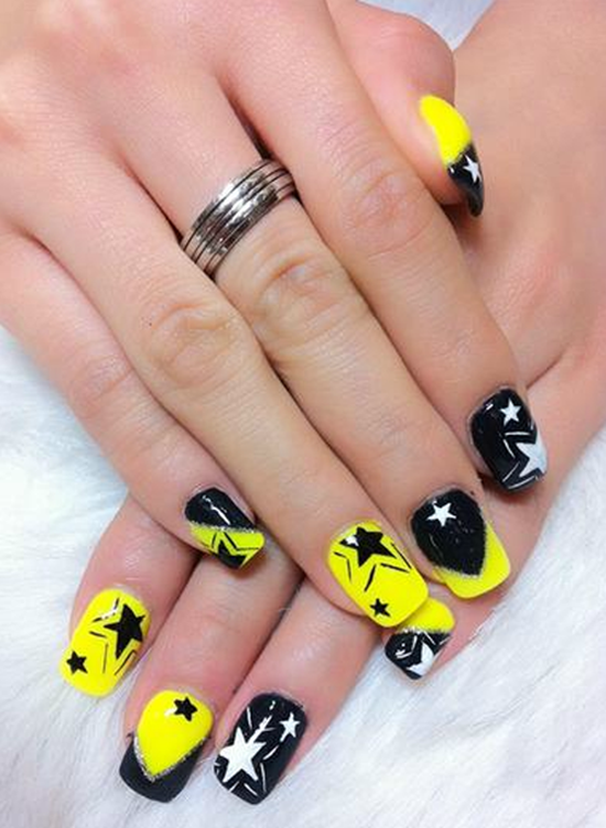 9 1 3 ... - 25 Shooting Stars Nail Art Ideas
