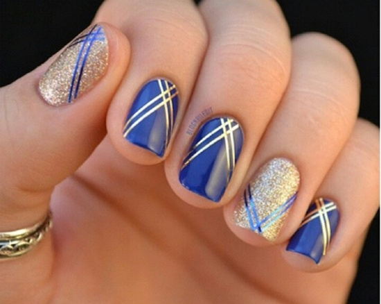 blue nail art (24) - 40 Blue Nail Art Ideas
