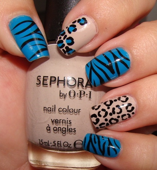 blue nail art (32) - 40 Blue Nail Art Ideas