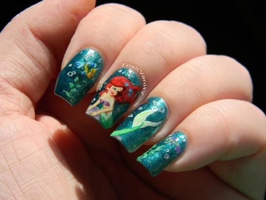 mermaid nail art (19) - 30 Classic Mermaid Nail Art Ideas
