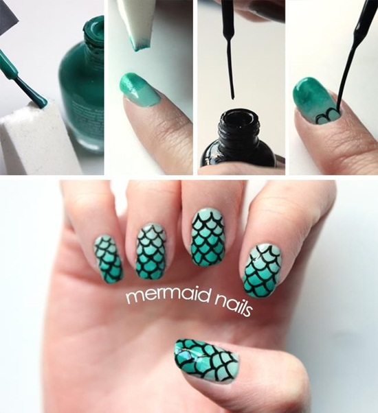 mermaid nail art (7) - 30 Classic Mermaid Nail Art Ideas