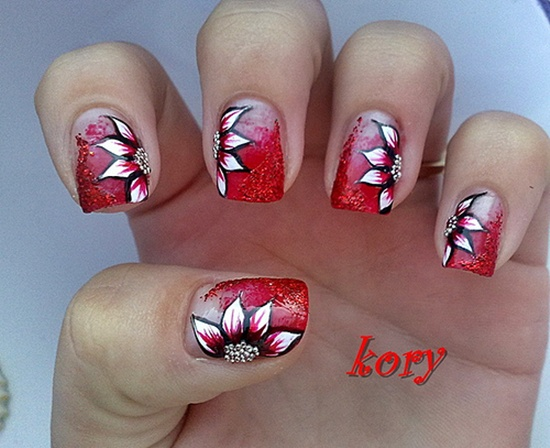 red nail art (3) - 40 Classic Red Nail Art Designs
