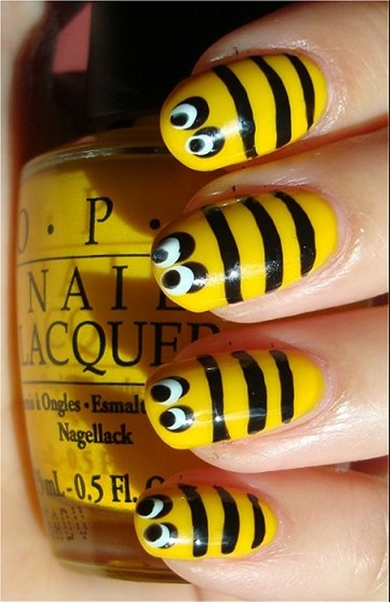 40 yellow nail art ideas to try on yellow bumble bee the bumblebee is always drawn in black and yellow make that work on your nails draw the background in yellow and draw dots and stripes prinsesfo Image collections