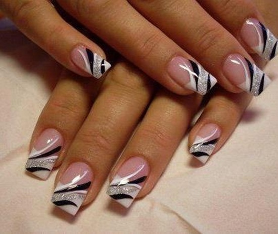 25 uv gel nail art designs application tips you can still have a french manicure with a few extra designs placed atop white black and silver always go well together when paired with this type of prinsesfo Images
