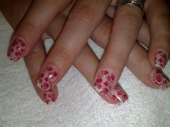 25 uv gel nail art designs application tips a gorgeous design of clear gel nails with patterns of roses and leaves connected in a swirling pattern normally patterns like these would be difficult to prinsesfo Image collections