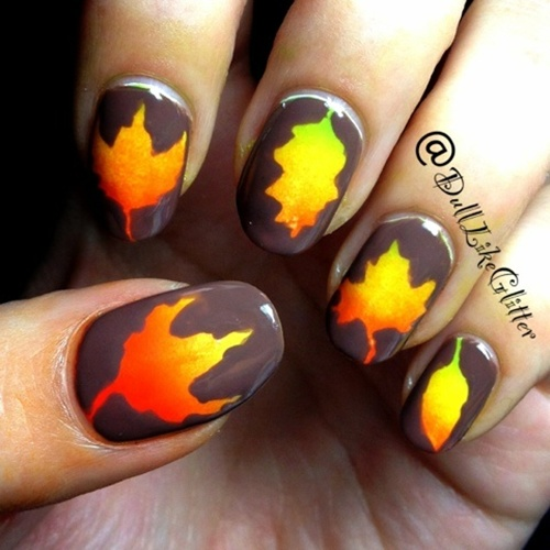 Thatleanne Firey Autumn Leaves Nail Art: How To Do Autumn Leaves Nail Art (30 Examples