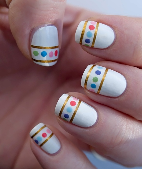 Patterns Using Tape Nail Art: 30 Simple And Easy Nail Art Ideas