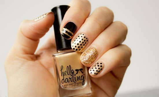 golden gliter nail art (11)