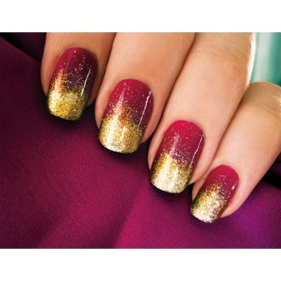 golden gliter nail art (12)