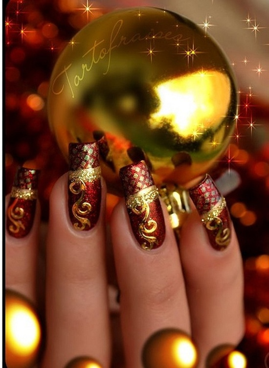 golden gliter nail art (13)