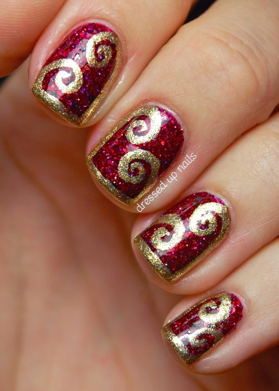golden gliter nail art (14)