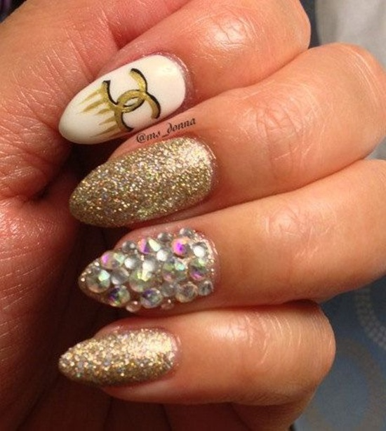 golden gliter nail art (16)