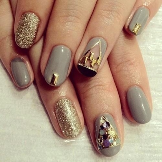 golden gliter nail art (17)