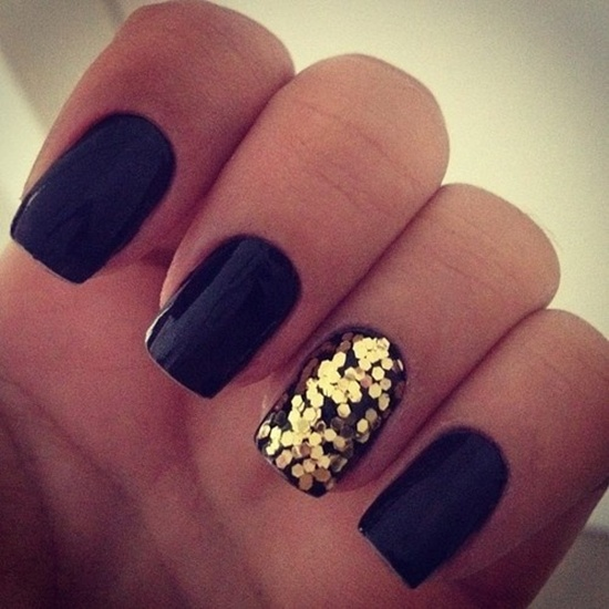 golden gliter nail art (18)