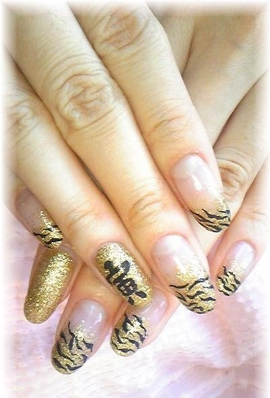 golden gliter nail art (20)