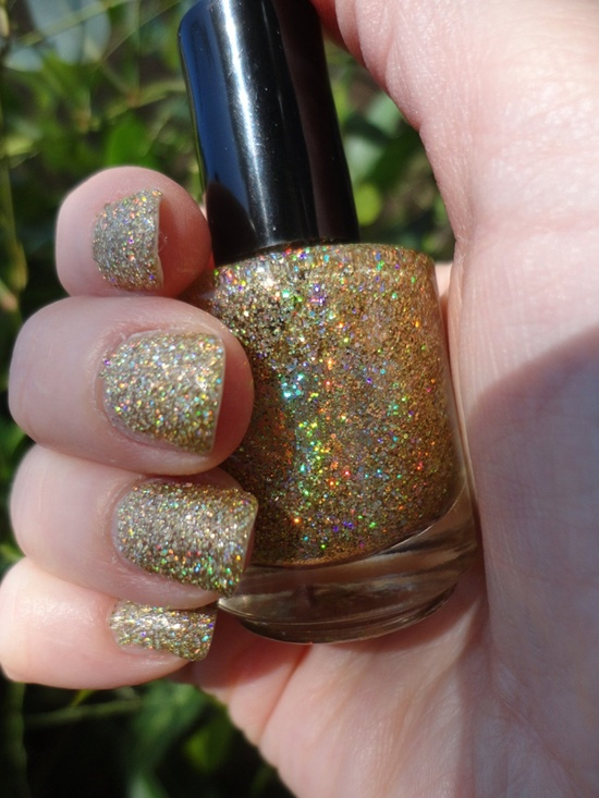 golden gliter nail art (26)