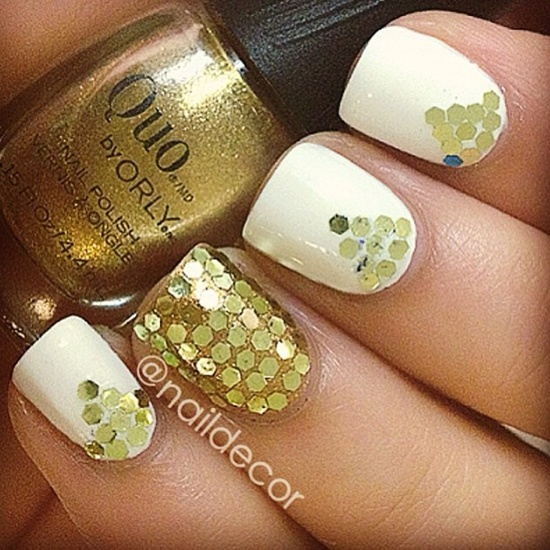 golden gliter nail art (27)