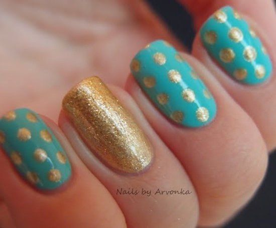 golden gliter nail art (28)