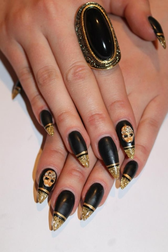 golden gliter nail art (3)