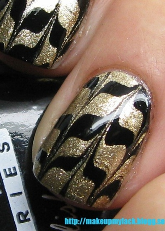 golden gliter nail art (30)