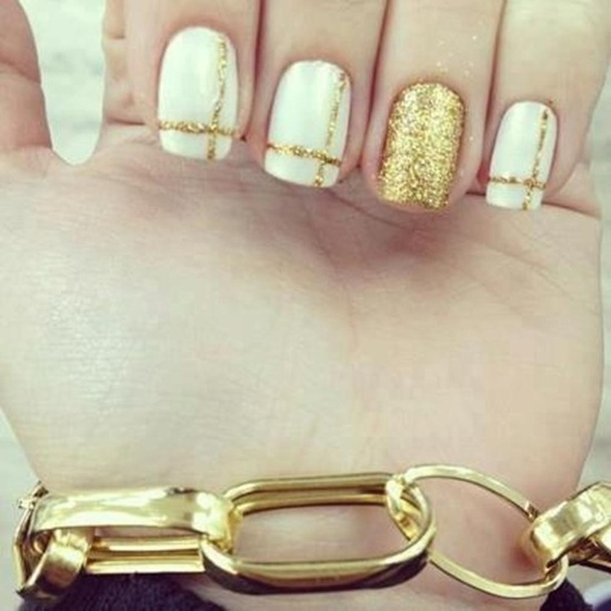 golden gliter nail art (32)