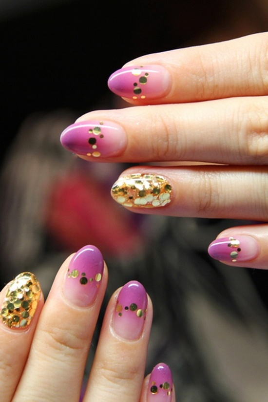 golden gliter nail art (33)