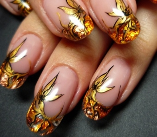 golden gliter nail art (5)