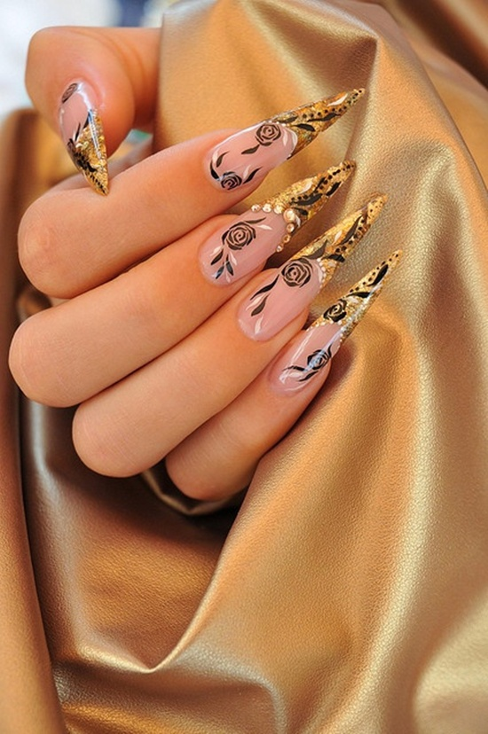 golden gliter nail art (6)