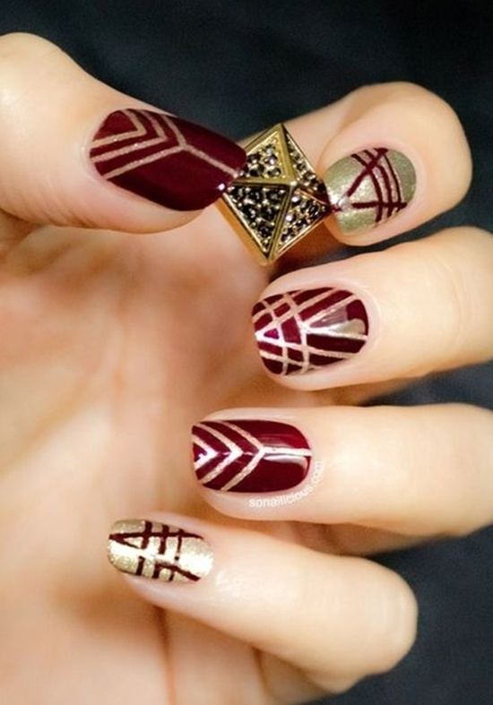 golden gliter nail art (9)