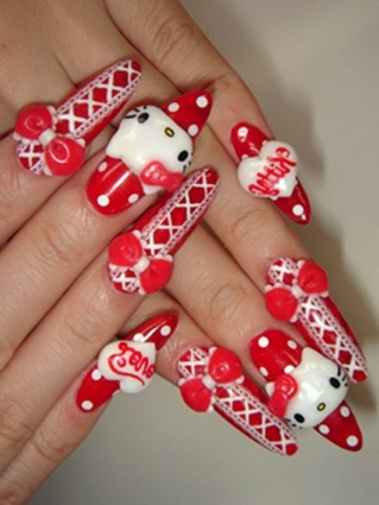 30 cool hello kitty nail art ideas kitty nail art 10 prinsesfo Images