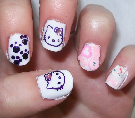 30 cool hello kitty nail art ideas kitty nail art 20 prinsesfo Images