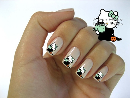 30 cool hello kitty nail art ideas kitty nail art prinsesfo Gallery