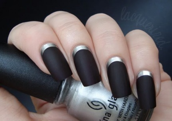 Matte black nail art best nails art ideas black matte nails with gold glitter french tip design prinsesfo Image collections