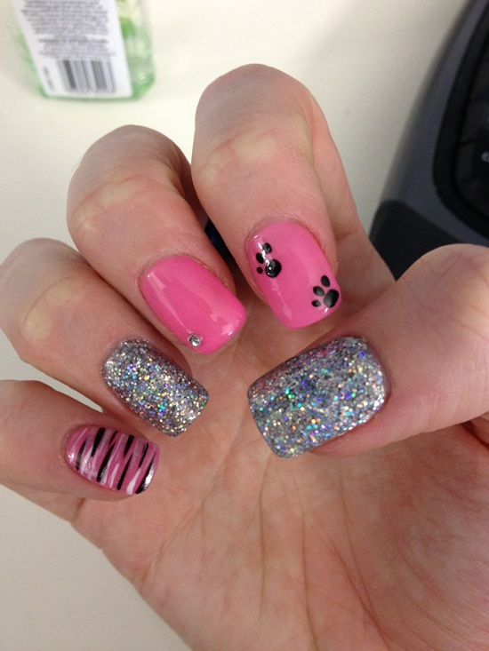 pink nail art. Contrast Of Pink With Black: - 30 Pink Nail Art Designs