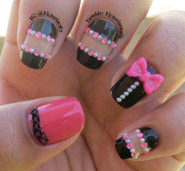 101 beautiful short nail art ideas here is a great example of some 3d nail art as you can see the pink bow tie and black chain link really make this design we also like how they have prinsesfo Image collections