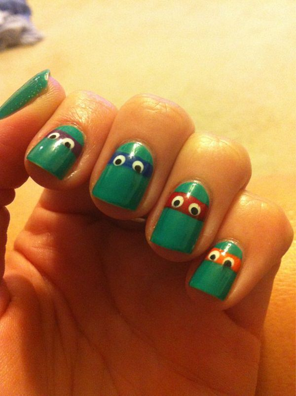 101 beautiful short nail art ideas the teenage mutant ninja turtles nail design again this would be amazing with a halloween costume or for a dress up party prinsesfo Gallery