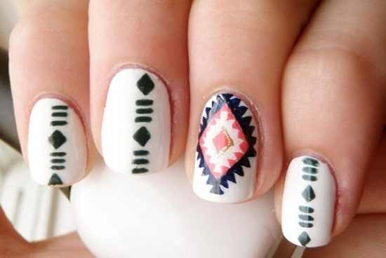 tribal nail art (15) - 30 Trendy Tribal Nail Art Ideas
