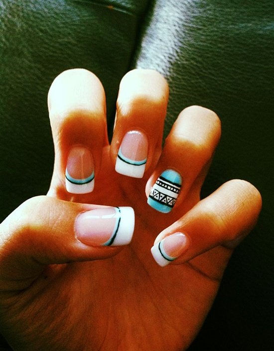 tribal nail art (2) - 30 Trendy Tribal Nail Art Ideas