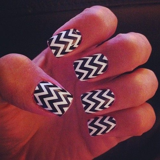 As you can see zig-zag nail art is cool and looks amazing as long as