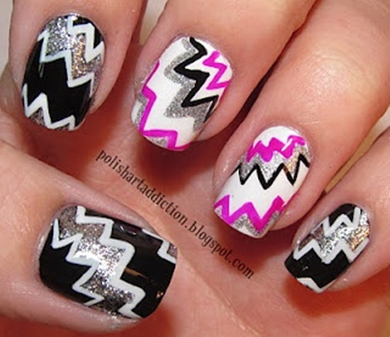 As you can see zig-zag nail art is cool and looks amazing as long as ...