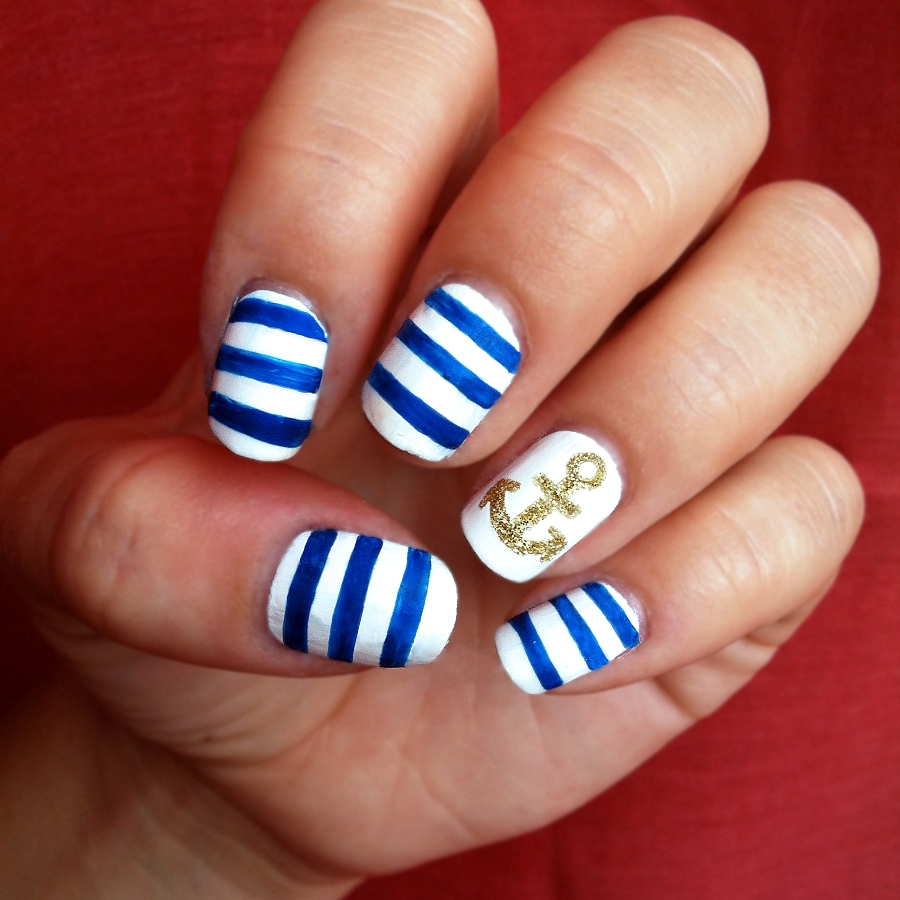 general-maritime-nail-art-design-ideas-with-blue-and-white-striped-polish-and-golden-glitter-anchor-motif-nail-design-ideas