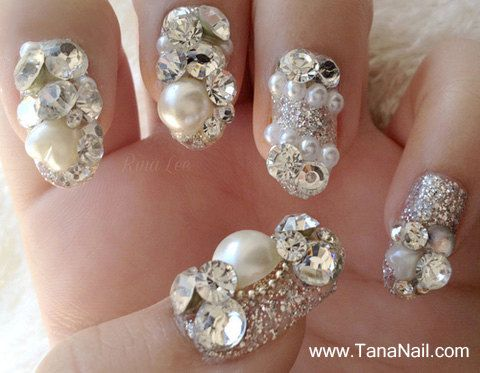 japanese-3d-nail-art-press-on-nails-false-nails-beautiful-silver-diamond-rhinestones-nail-tips-t087k