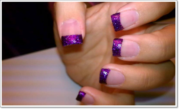 20 cool purple nail designs purple nail designs 1 cool nail polish designs with purple glitter prinsesfo Gallery