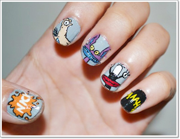 Childhood memories17 cartoon nail art designs and how to 90s cartoon nail art ahhh real monsters prinsesfo Gallery
