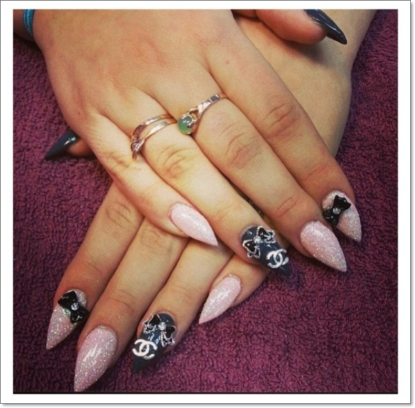 48 cool stiletto nails designs to try tips chanel stiletto nails prinsesfo Images