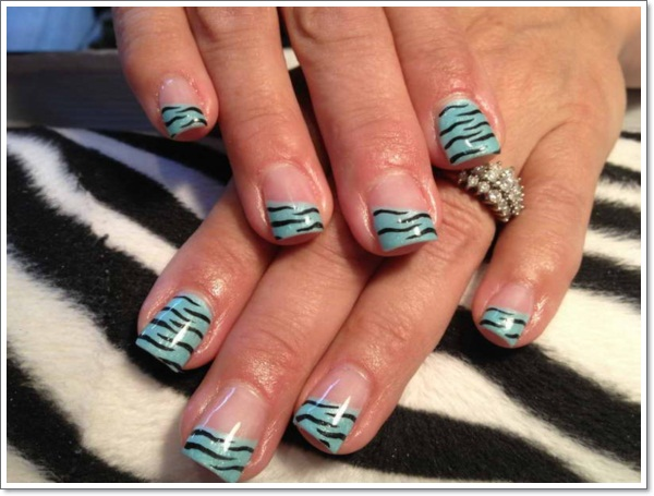 ... Natural-Zebra-Print-Nails-Design-With-Light-Blue- ... - 25 Zebra Print Nails Design Ideas!